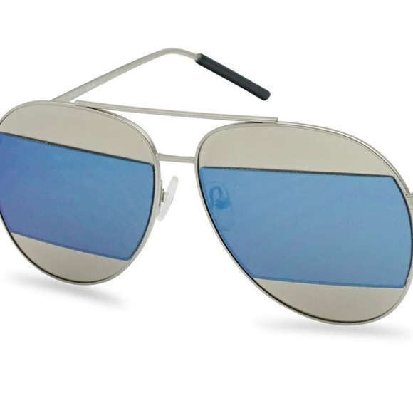 Kiss Other - CUT-OUT MIRRORED AVIATOR SUNGLASSES BLUE NEW